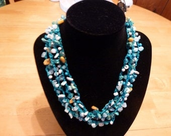 Turquoise Seas - a Lovely Handmade Bead Crochet Necklace with Vintage Button Closure