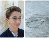 Vintage Antique old French 1900 Victorian Edwardian  silvered metal round eyeglasses