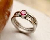 Pink Ruby Ring, Silver Gemstone Ring, Hand Fabricated Ring, Modern Metalwork Ring, Oxidized Finish