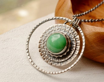 Chrysoprase Necklace, Chrysoprase Pendant, 925 Silver Pendant, Bezel Work Necklace, Round Hand Stamped Silver Pendant