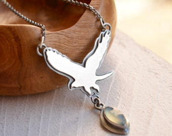 Silver Eagle Necklace, 925 Silver Bird Pendant, Aqua Chalcedony Pendant, Metalsmithed Necklace, Silver and Stone, Artisan Jewelry