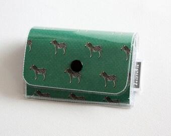 Handmade Vinyl Accordion Wallet - Joy / small wallet, snap, cute wallet, card case, vinyl wallet, women's wallet, zebras, animal wallet