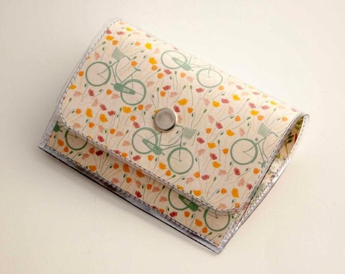 Handmade Vinyl Accordion Wallet - Spring Bicycles / small wallet, snap, cute, card case, vinyl wallet, women's wallet, bike, cruiser