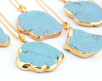 Boho Necklace -  Bohemian Necklace - Turquoise Necklace - Large Turquoise Gold Pendant - Turquoise Statement Necklace - Gift For Her