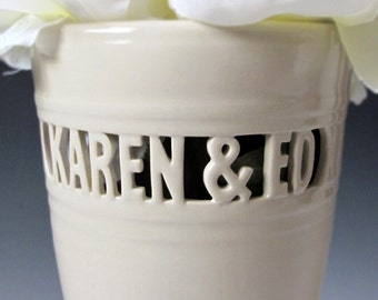 Personalized Wedding / Sweetheart Block Letter Vase - 2 names only