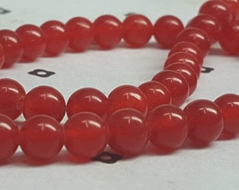 6mm Red Dyed Jade full strand