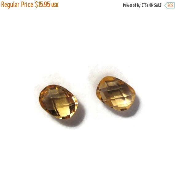 Labor Day SALE - Two NON DRILLED Citrine Gemstones, Matching Bright Yellow Stones for Making Jewelry & Setting, 8x6mm Teardrop Gemstone (Lux