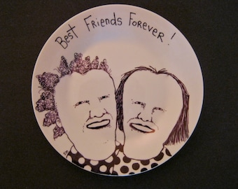 Hand painted Plate ,sandy mastroni,best friends,original illustration weird home decor, Odd art, fun art, ceramic plate, by Sandy Mastroni