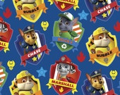 Paw Patrol  Badge on Navy, Rocky, Marshall and Rubble 1 Yard