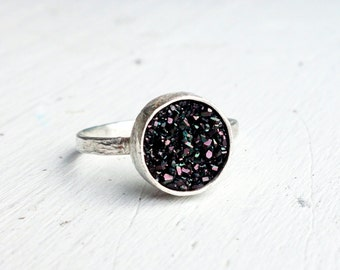 Galaxy Black Druzy Simple Bezel Ring on Textured Carved Bark Band