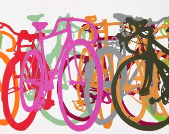 Bike Art Print - Colorful Bicycle Row 1