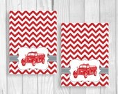 Custom Printable Red and Gray Vintage Fire Truck Baby Shower Tent Folded 2x3 Advice Cards RESERVED FOR TABITHA