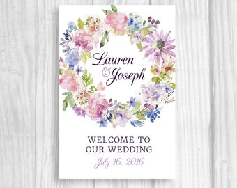 Personalized Large Printable Wedding, Bridal Shower or Baby Shower Welcome Sign in Lilac, Lavender and Purple with Flowers - ANY SIZE