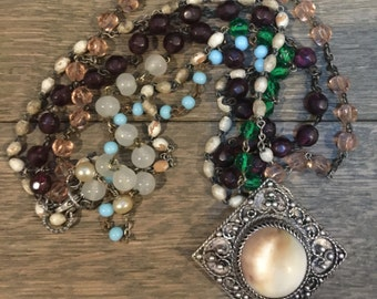 Vintage stone pendant and multi strand rosary one of a kind repurposed necklace