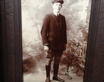 Yours Sincerely Bert - Antique Photograph Post Card of Man - Display - Gift - Instant Ancestor