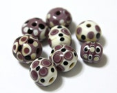 Set of Lavender and Ivory Artisan Lampwork Glass Beads For Jewelry Designs Handmade Supplies