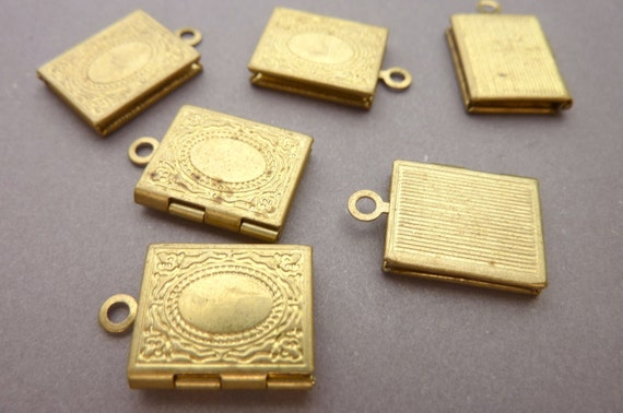 Brass Lockets - Small Book Charms - Victorian  (4)