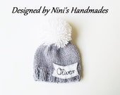 Chunky Personalized and CUSTOMIZED Grey Pom Pom Hat with Kursiv Name of your choice, Baby to Adult Hats with Name, Made in USA knitted hat