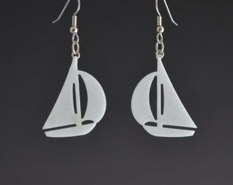 White Earrings Upcycled Corian Sailboat Earrings Nautical Themed Pierced Dangle Drop Earrings - Lightweight Handmade Recycled Earrings