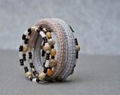 coil crochet bracelet  - memory wire bracelet - modern crochet jewelry - beaded bracelet