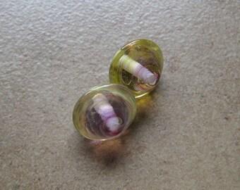 Lampwork Beads - SueBeads - Bicone Beads - Daffodil and Violet Bicone Bead Pair - Handmade Lampwork Beads - SRA M67