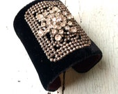 For Sabrina: Black Silk Velvet and Rhinestone Adjustable Cuff