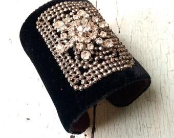 Black Silk Velvet and Rhinestone Adjustable Cuff