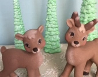 Ceramic Reindeer - Cute Reindeer Couple - Christmas Decoration -  gift under 10 - Stocking stuffers - Santas Deer - Ready to ship gift idea