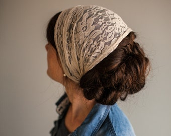 Cafe Cream Lace Headwrap Garlands of Grace | Birdal  headcovering veil headband