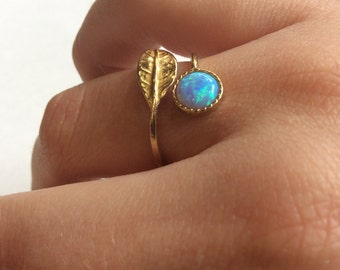 Adjustable opal ring, Thin ring, leaf ring, Golden ring, opal ring, gemstone ring, stack ring, delicate ring - Gone with the wind RK2062-1