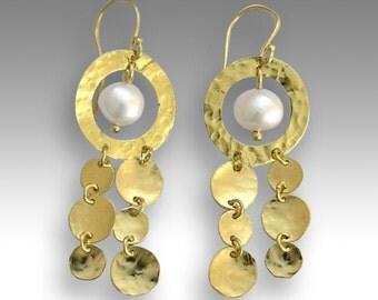 Solid yellow gold Earrings, chandelier 14k gold earrings, bridal earrings, fresh water pearl earrings - Elegance is an attitude EG2032-1