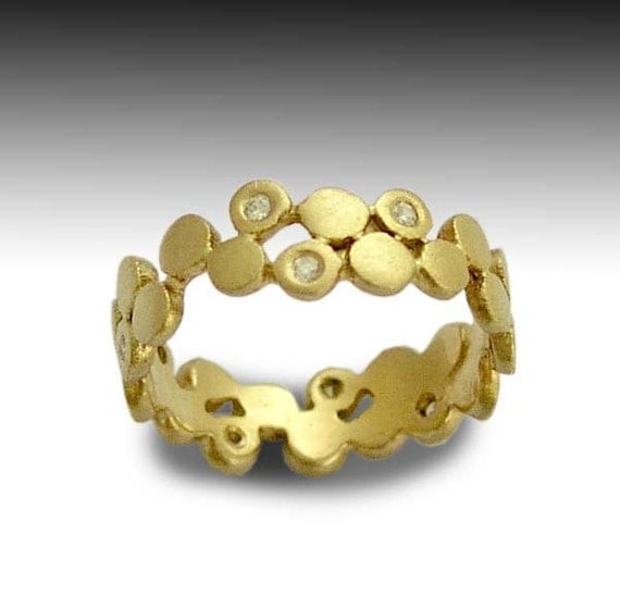 14k yellow gold band, gold wedding ring, diamonds band, gold diamonds band, wedding band, simple ring, dot band - Yet to discover RG1175X