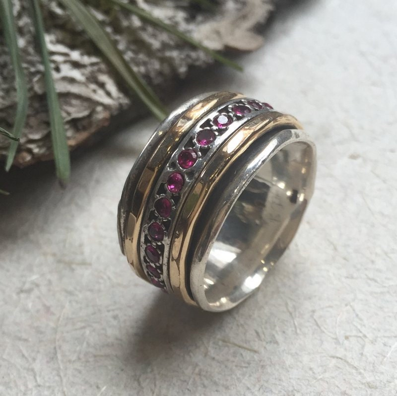 Meditation Ring Silver Band Ruby Ring Stacking Spinner