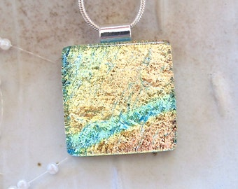 Yellow Necklace, Aqua,  Dichroic Glass Pendant, Fused Glass Jewelry, Necklace Included, A12