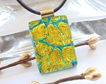 Dichroic Pendant, Glass Jewelry, Gold, Aqua, Necklace Included
