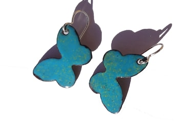 Handmade Enamel on Copper Dangle Butterfly Earrings, Blue Green Butterfly Enameled Earrings, Enameled Copper Butterfly Earrings, (154)