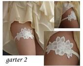 Ivory Bridal Garter,embroidered garter--size M/L