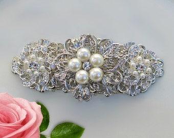 Bridal hair piece, Wedding hair comb, Crystal accessory, pearl hair clip, bridal comb, rhinestone Headpiece, crystal ivory pearl