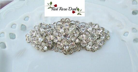 Bridal hair Clip, Crystal hairpiece, Silver barrette, wedding Hair accessories, Flower Hair Comb