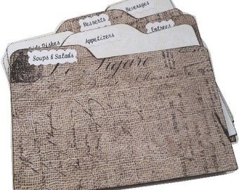 Recipe Tab Dividers Sturdy (Set of 6) Burlap and Lace, Rustic  3 x 5 or 4 x 6 MADE To ORDER