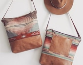 Tribal Print Hobo. Brown Leather Bag. Southwestern Bag. Cross Body Strap Bag. Adjustable Strap.