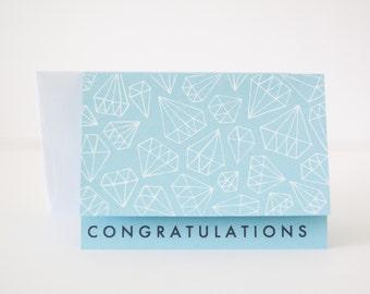 wedding congratulations card engagement bridal blue