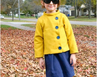 Child Coat PDF Sewing Pattern,  The Konijntje Jacket Sized 2y to 12y