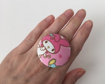 Large My melody fabric button ring