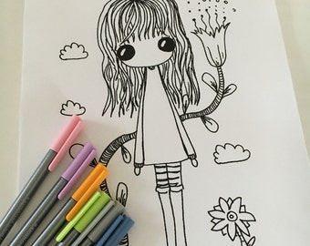 PDF download - Flower Girl A4 Colouring Doodle