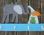 Kids Towel Rack ELEPHANT - Original Hand Crafted Hand Painted