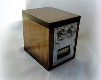 Rustic Birch Safe with Nickel Brass Post Office Door Bank Combination Lockbox Bank USPS Mail Box Combination Groomsman 5ht 21st Anniversary