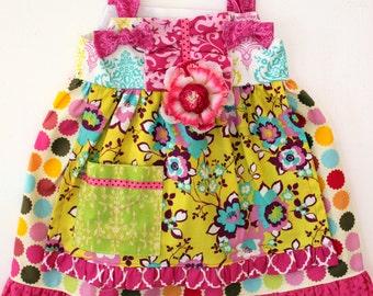 Breezy Floral Apron Dress, Girls dress, toddler dress, birthday dress, summer dress, spring dress