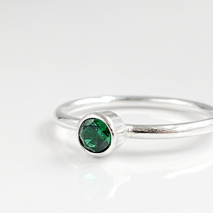 emerald ring sterling silver stacking birthstone jewelry