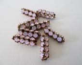 Pink Opal Faceted Rhinestone Tube Bead